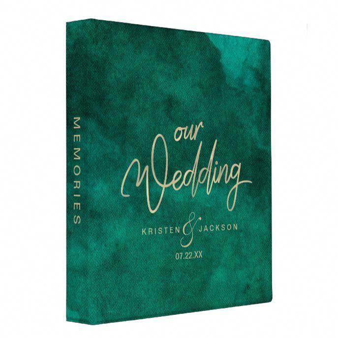 Emerald Green Watercolor Gold Wedding Photo Album 3 Ring