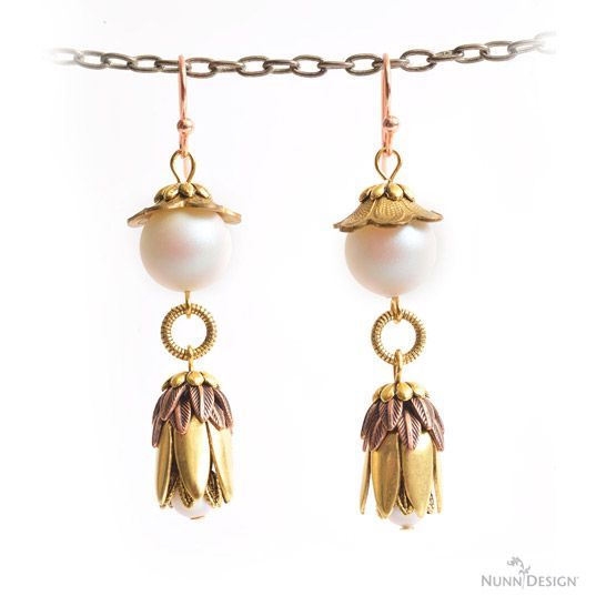 Nunn Design Jewelry Findings created these fun earrings with an assortment of beadcaps.