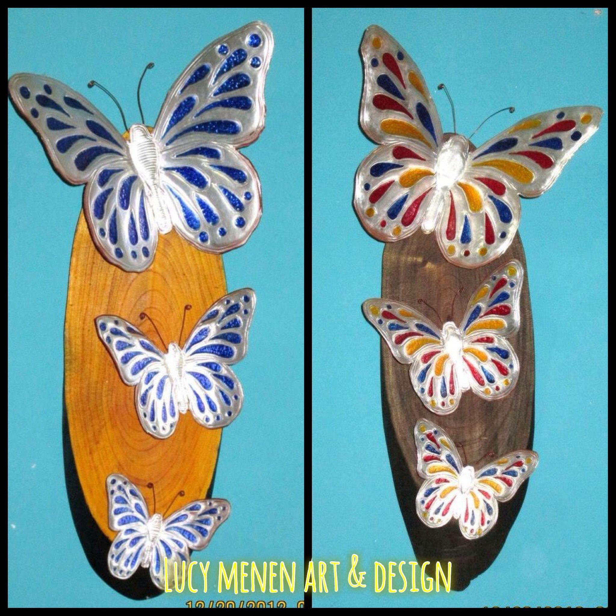 Mariposas en repujado con técnica falso vitral | ARTE NATURAL EL ...