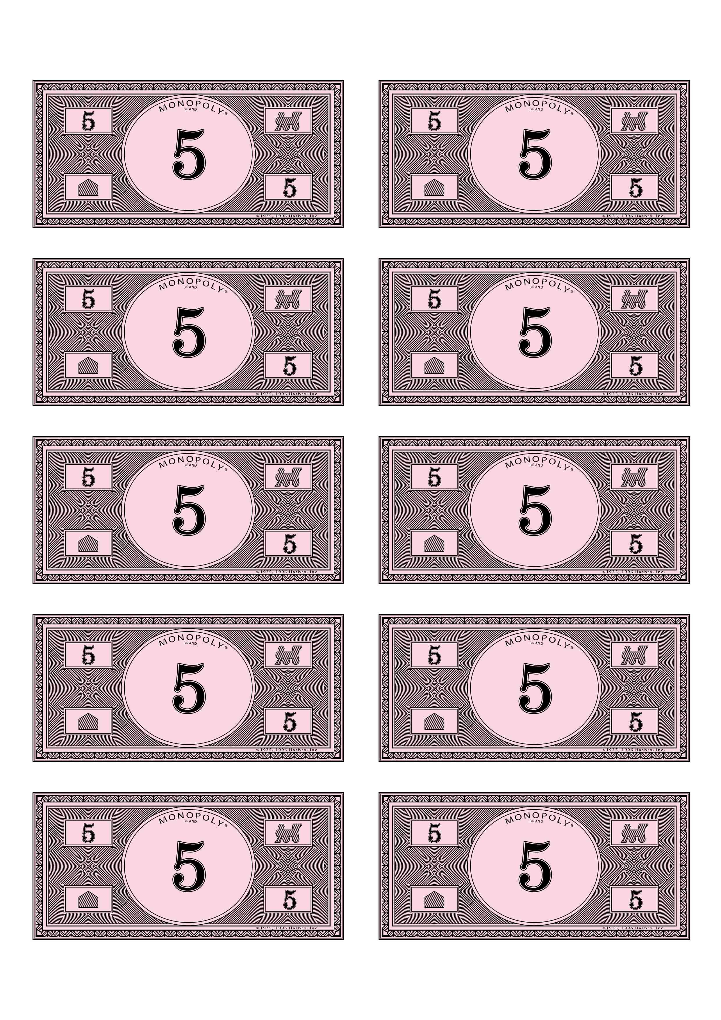 Satisfactory image within printable monoply money