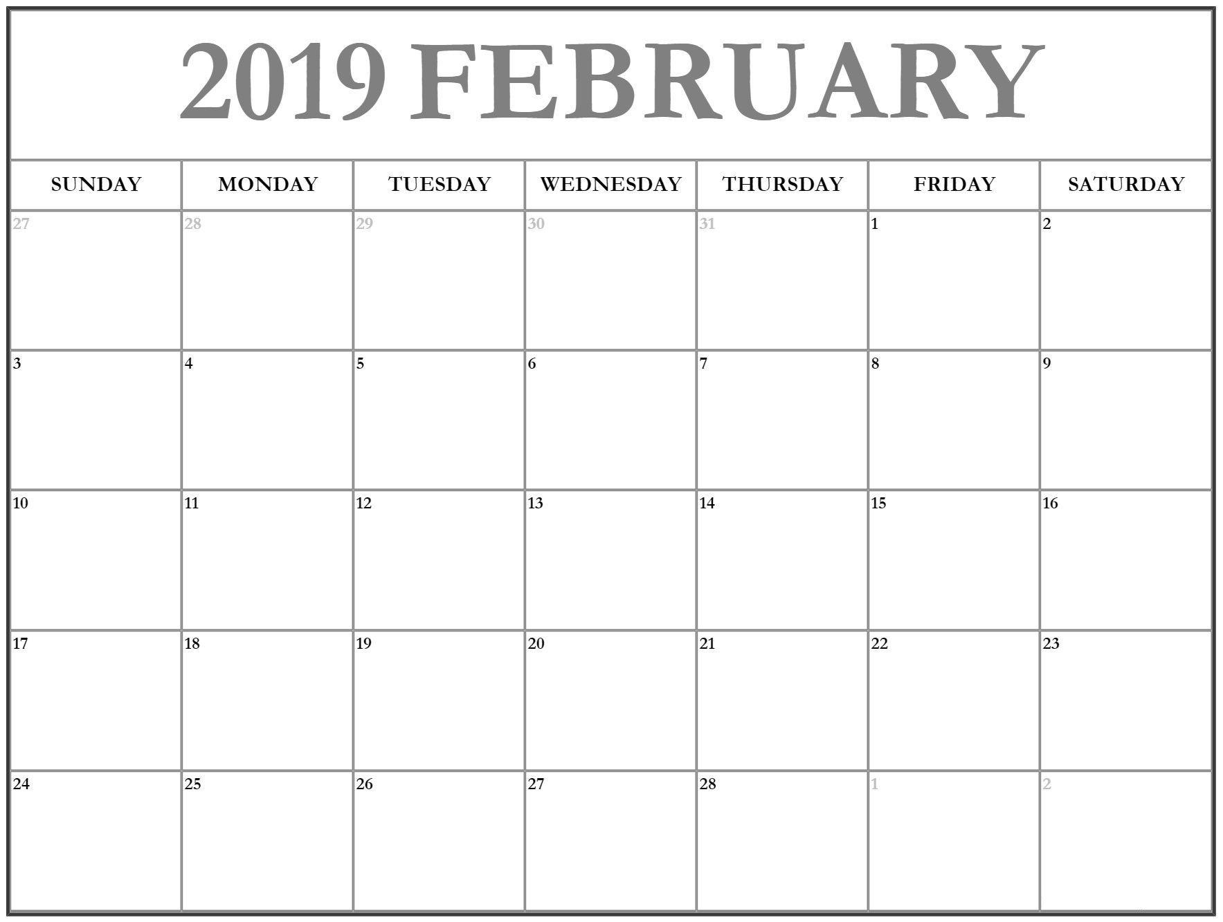 February Calendar 2019 Dates Planner February Calendar 2019 Manage