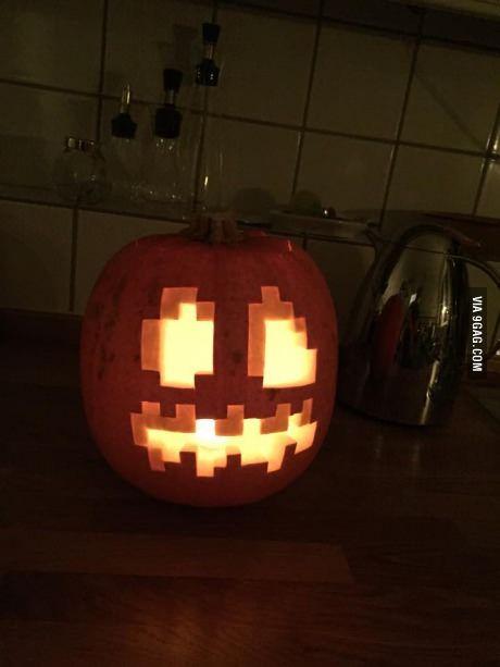 Carved Minecraft Halloween Pumpkin!