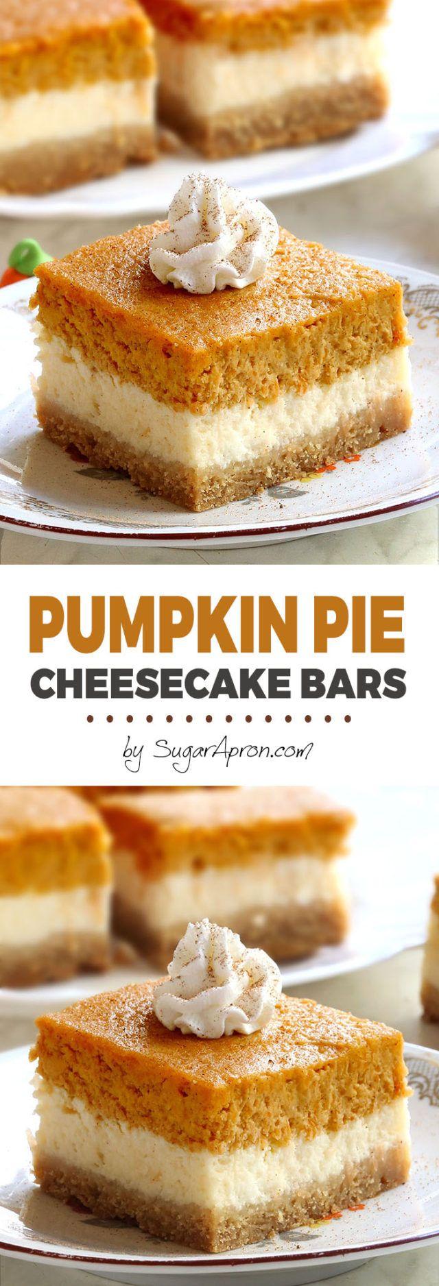 Pumpkin Pie Cheesecake Bars - Sugar Apron