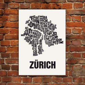 Zurich Siebdruck Buchstabenorte Buchstabenorte Poster Berlin Typografie