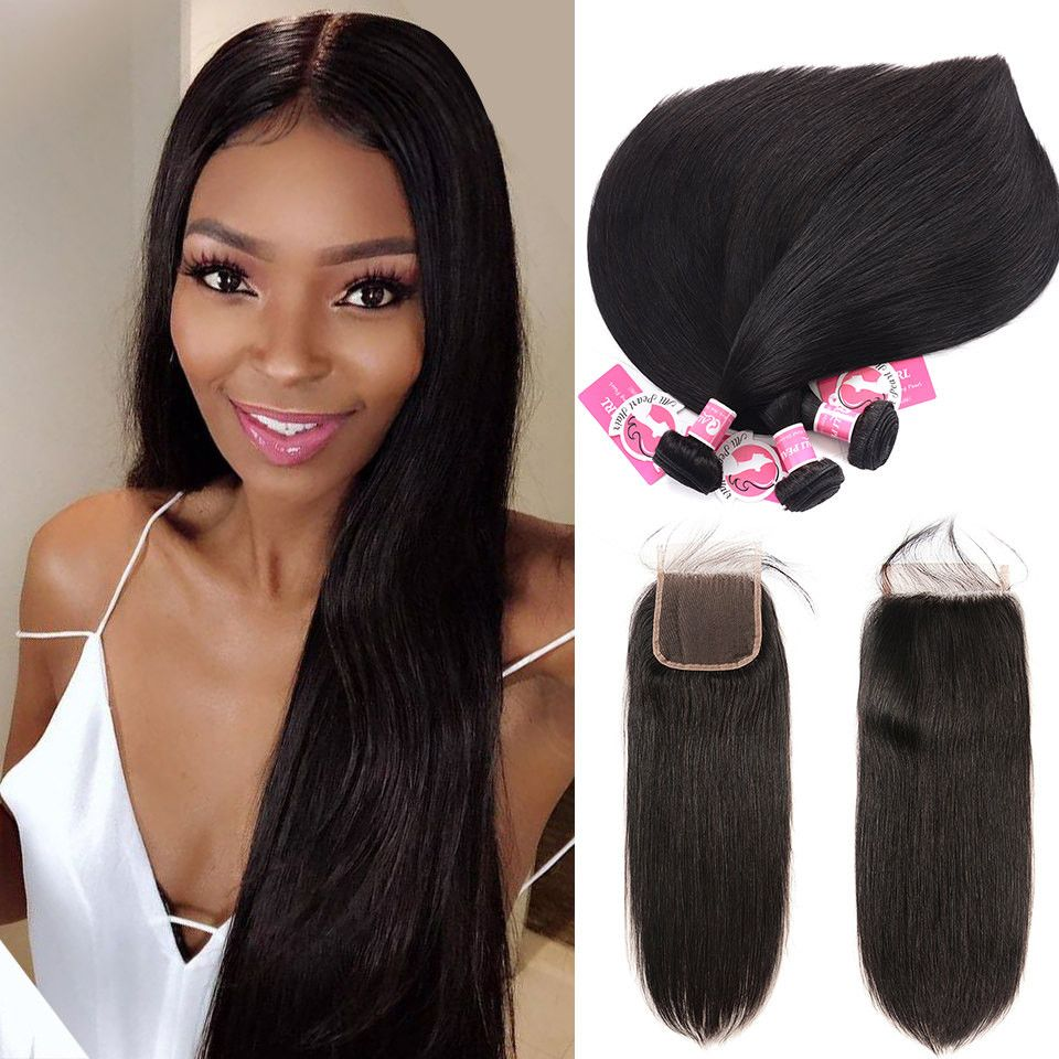unprocessed peruvian hair 3pcs straight with 4*4 lace
