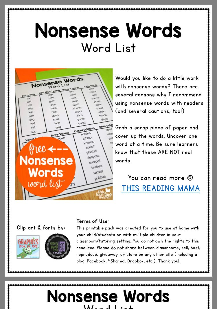 Pin by rachel on speech therapy nonsense words