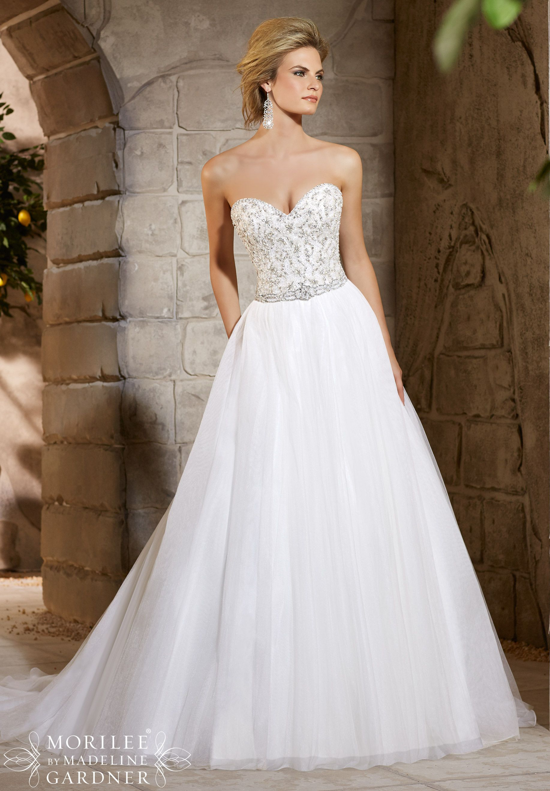 Mori lee strapless lace-up back wedding dress