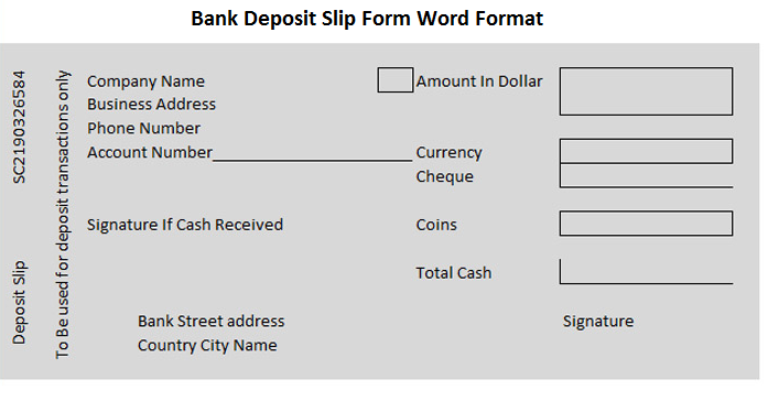 Bank Deposit Slip Form Word Format  Wordtemplateinn  Excel