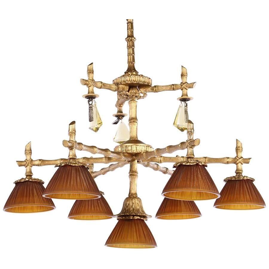Bronze faux bamboo seven light chandelier faux bamboo bronze faux bamboo seven light chandelier arubaitofo Gallery