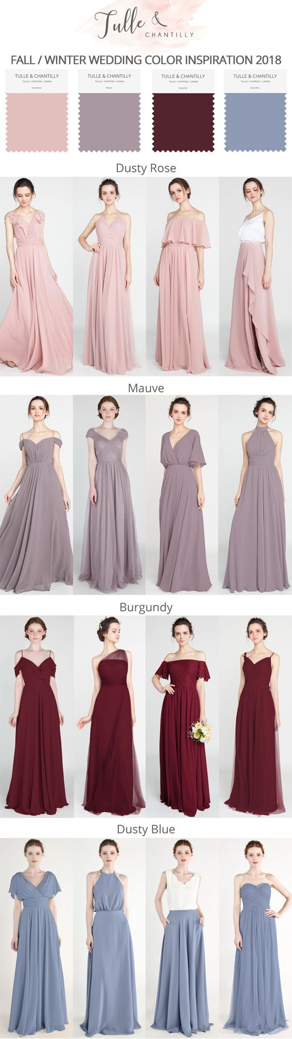 Casual wedding dresses for winter wedding  fall winter wedding color ideas and bridesmaid dresses  wedding