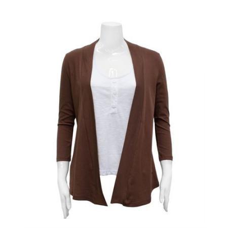 0cd362909b Brown Ladies Wrap Around Cropped Sleeves Cardigan Shawl Collar ...