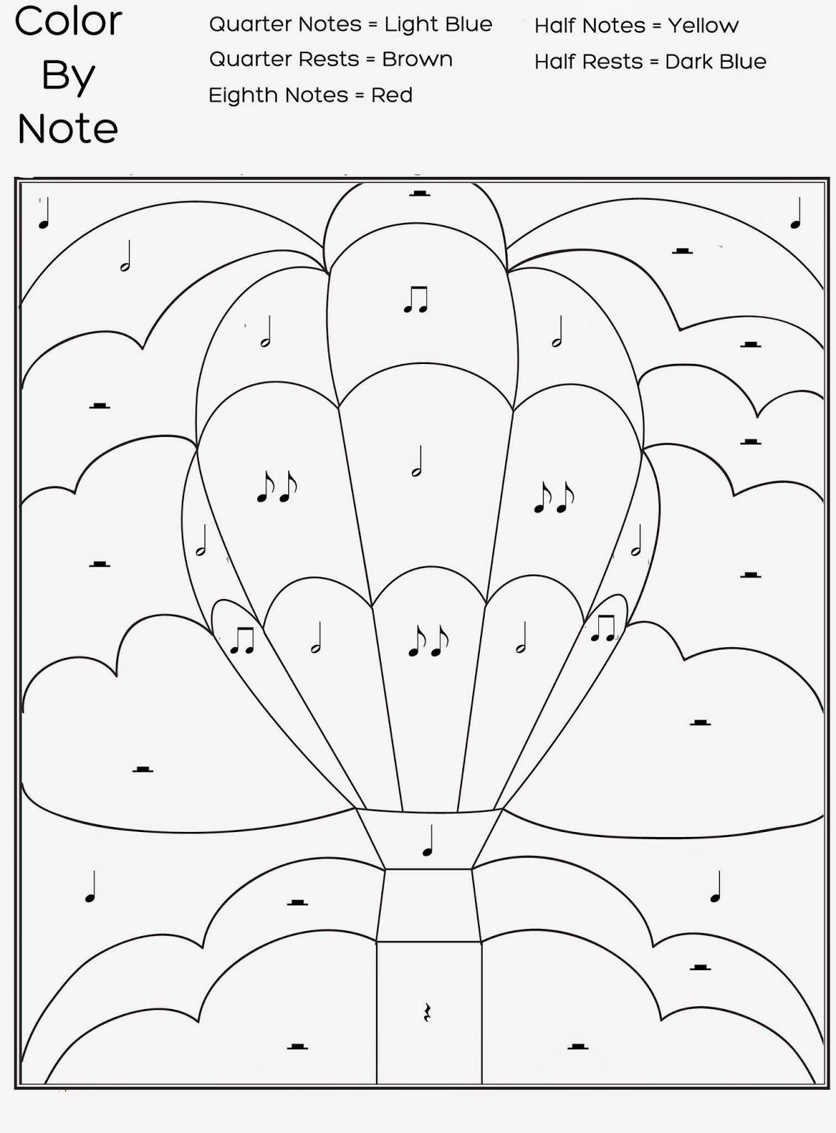 Numbers 1 for stylish free printable color by numbers coloring pages - Free Printable Color By Note Worksheet