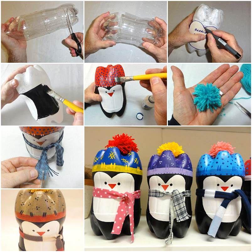Diy Cute Penguin Out Of Plastic Bottles Soda Bottle Crafts Diy