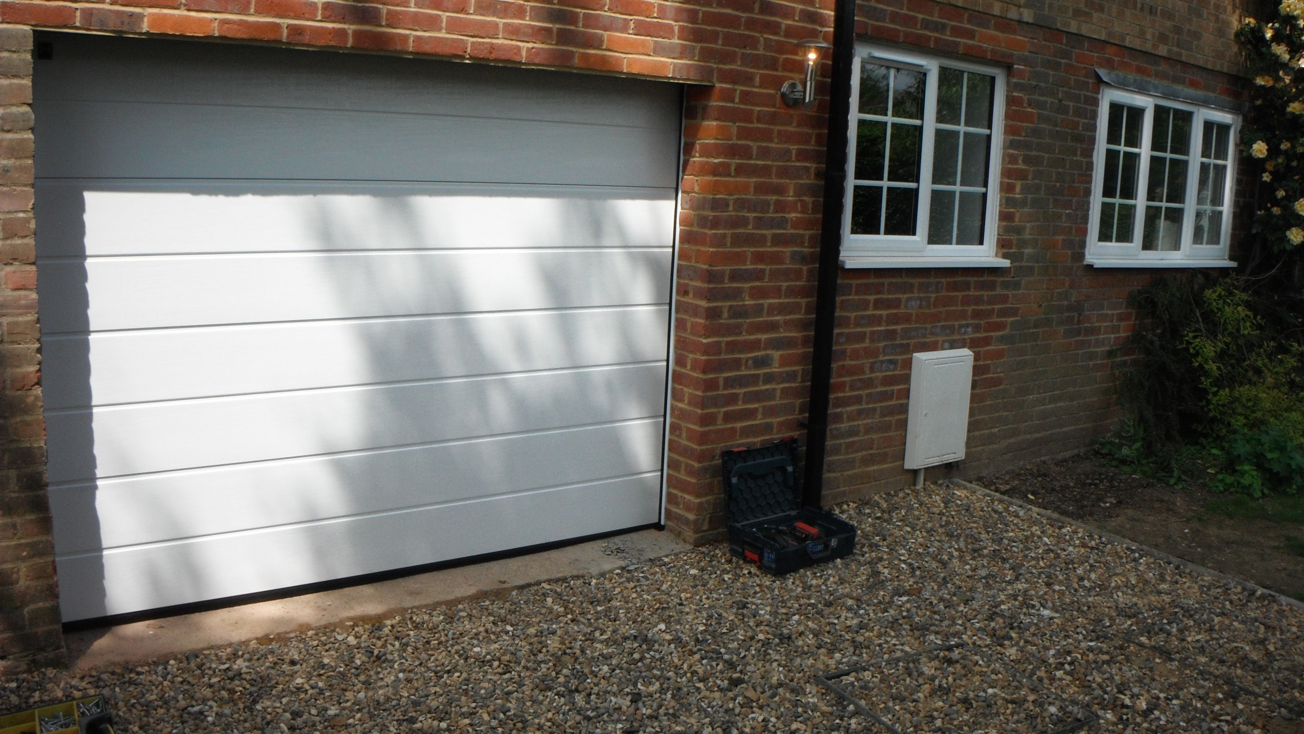Hormann M Ribbed Sectional Garage Door In White Smooth