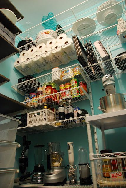 Storage And Color Combo Of Solid And Ventilated Adjustable Shelving With Images Walk In Pantry Pantry Organization Kitchen Projects
