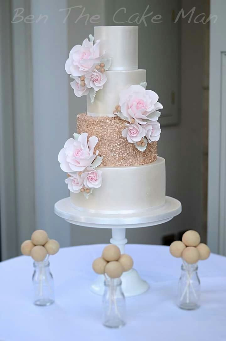Rose Gold Roses Pink Blush Gold Sequins Lustre White Champagne
