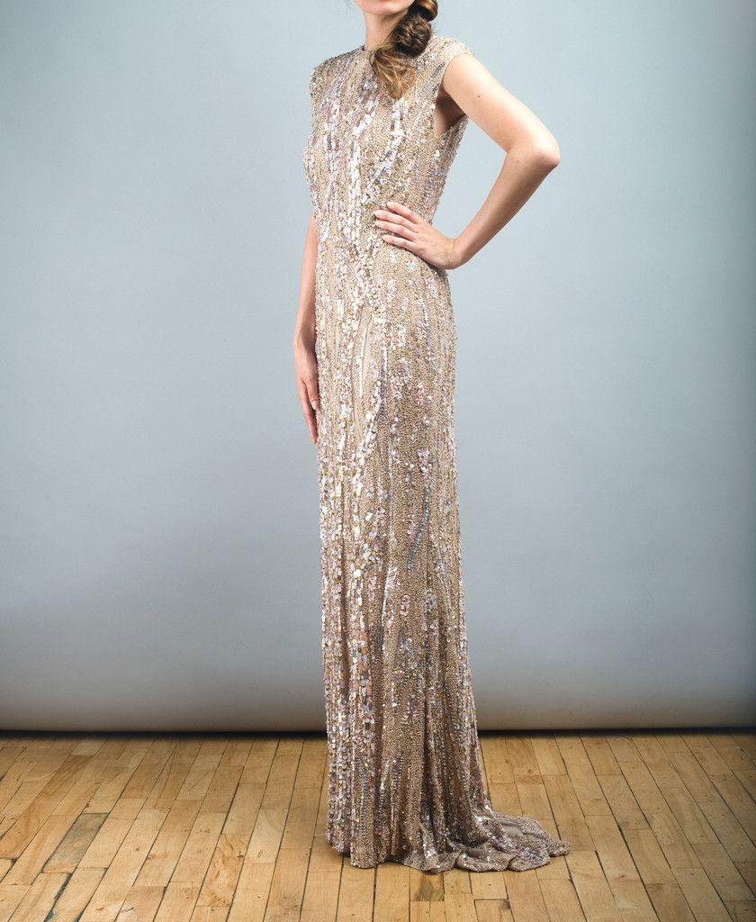 Elie Saab Light Taupe Fully Sequined Wedding Dress | Taupe, Wedding ...