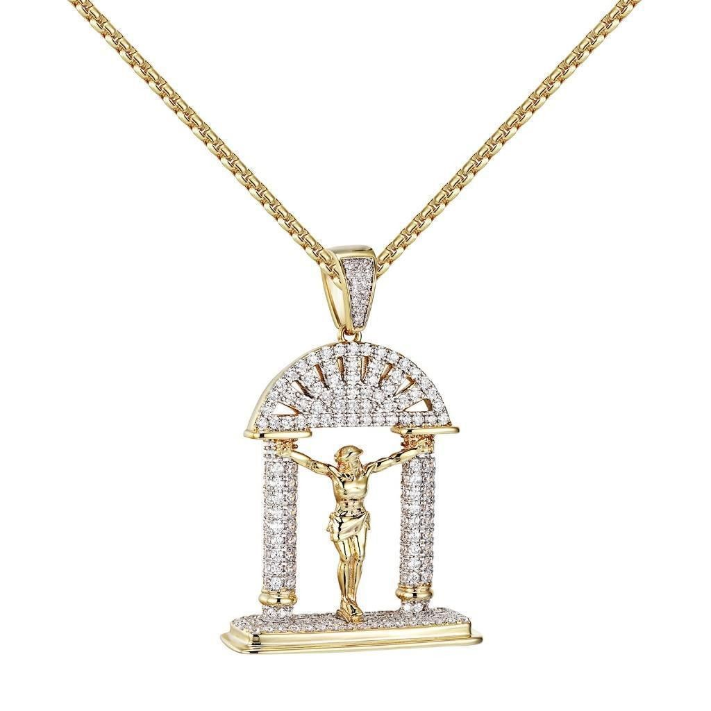 Jesus christ crucifix pendant iced out simulated diamond k gold