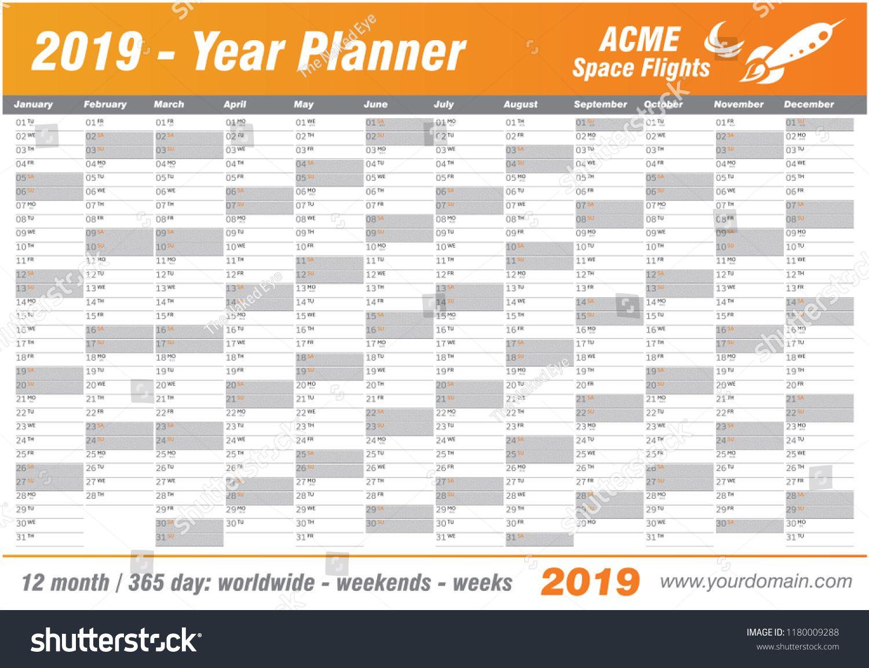 Year Planner Calendar 2019 Vector Annual Worldwide Printable