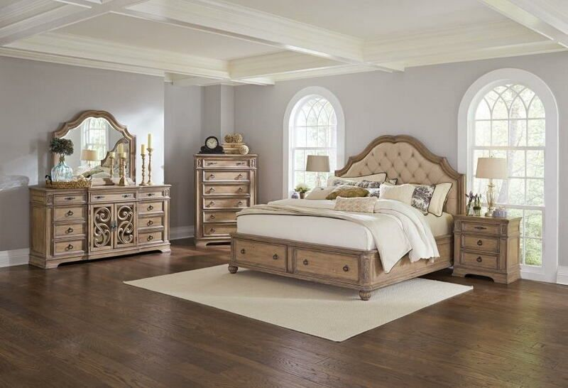 205070 5 Pc Ellian Antique Linen Finish Wood Queen Bedroom
