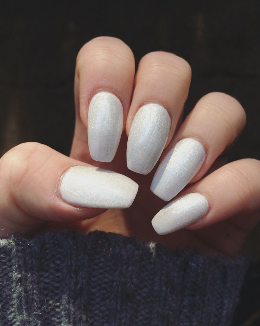 Shellac Acrylic Nails: Acrylic Nails With White Shimmery Gel/shellac Over Top. I