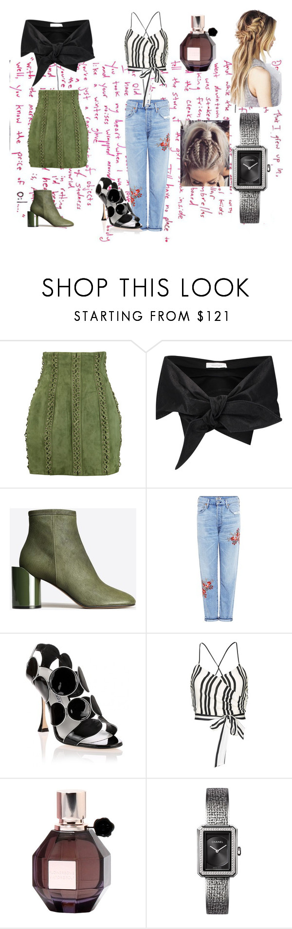 """""""Untitled #40"""" by annmariec2 ❤ liked on Polyvore featuring Balmain, Marques'Almeida, Maison Margiela, Citizens of Humanity, Manolo Blahnik, Alice + Olivia, Viktor & Rolf and Chanel"""