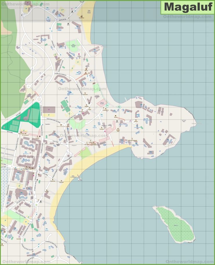 Large detailed map of Magaluf Maps Pinterest