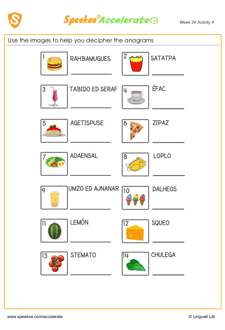 hight resolution of Spanish food anagrams - free spanish worksheet   Tricky words