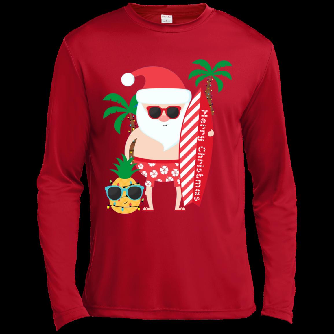 b067207635a Santa Claus Surfing Hawaiian Shirt Summer Christmas Outfit ST350LS Spor-Tek  LS Moisture Absorbing T-Shirt