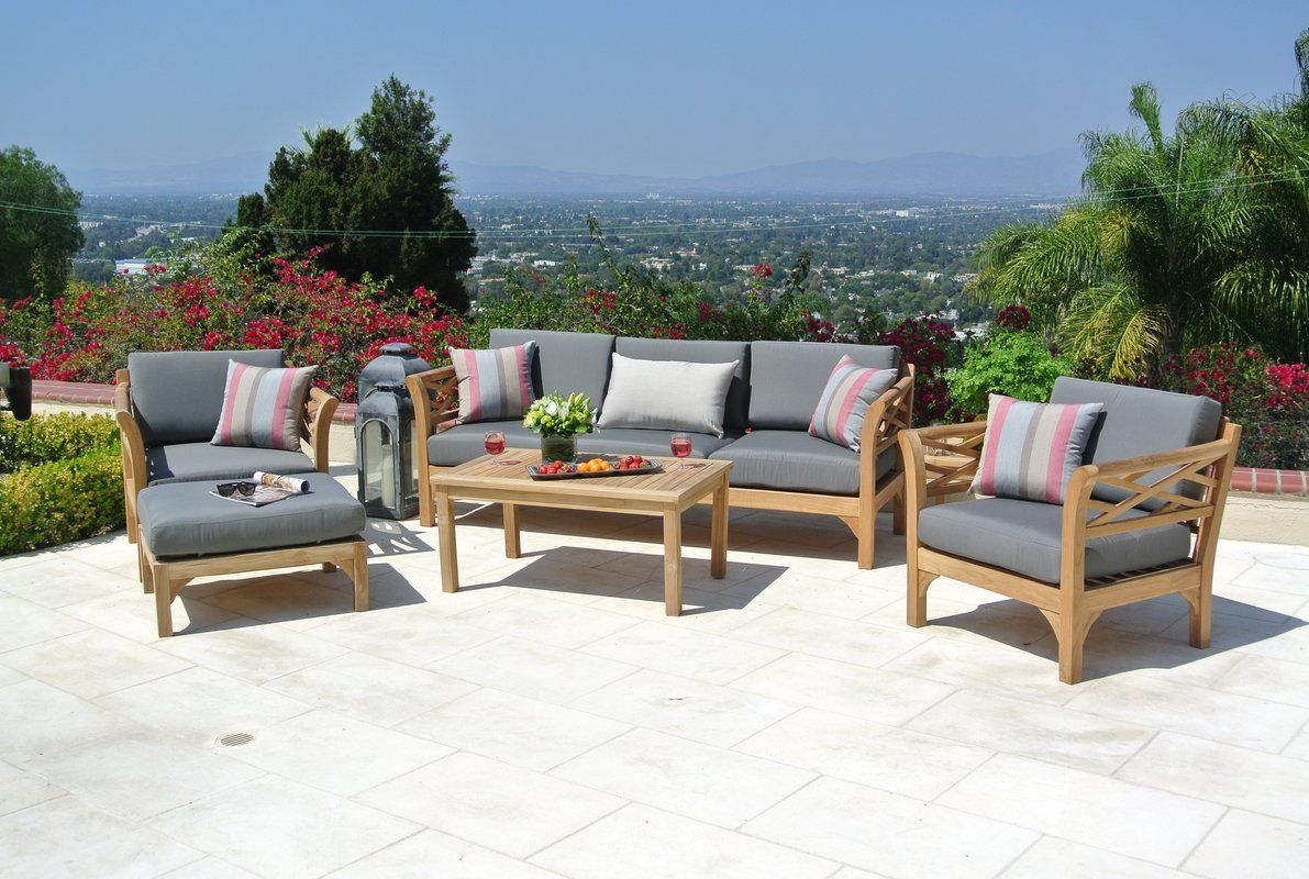Malibu Outdoor Teak 6 Piece Sunbrella Sofa Set With Cushions Teak Patio Furniture Teak Sofa Outdoor Furniture Sets