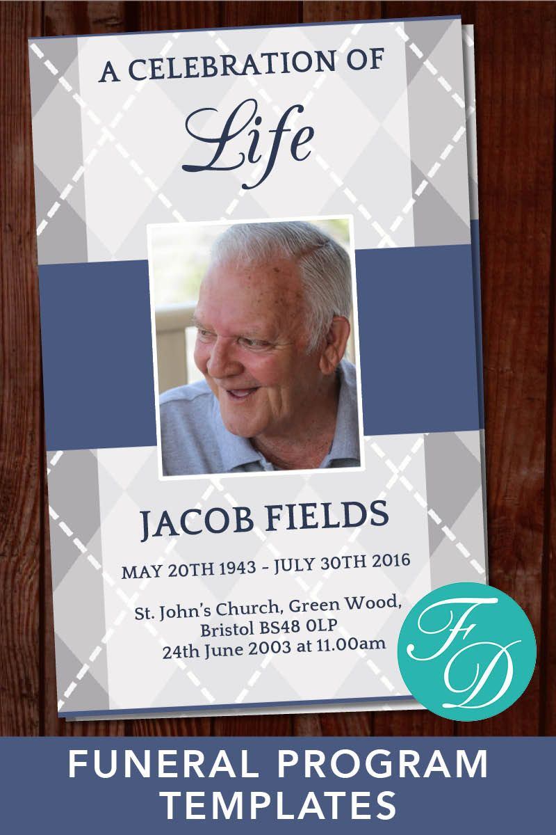 For Grandad Printable Funeral Program Ready To Edit Print Simply