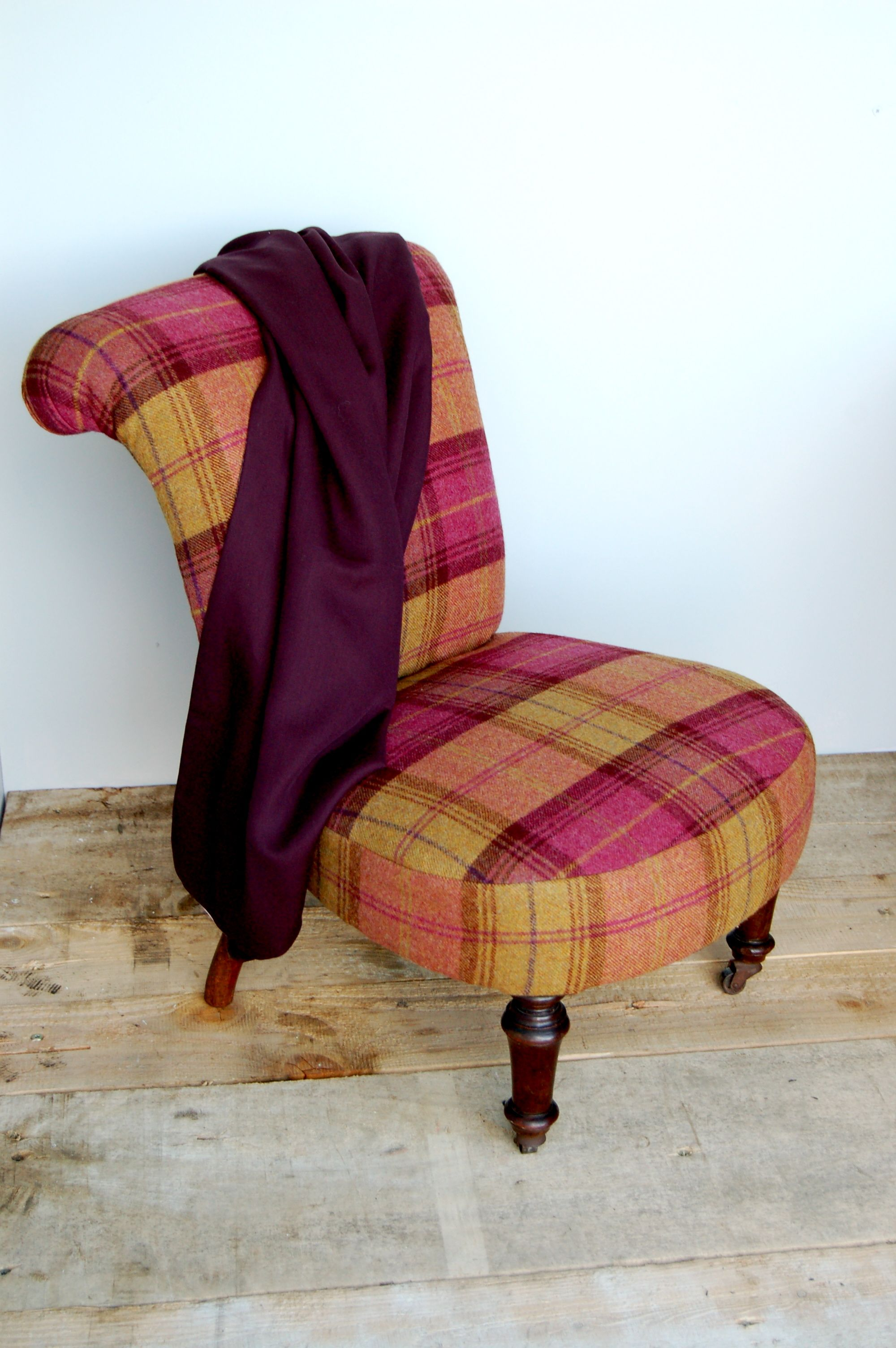 Nursing Chair reupholstered with Sanderson fabric | Plaid ...