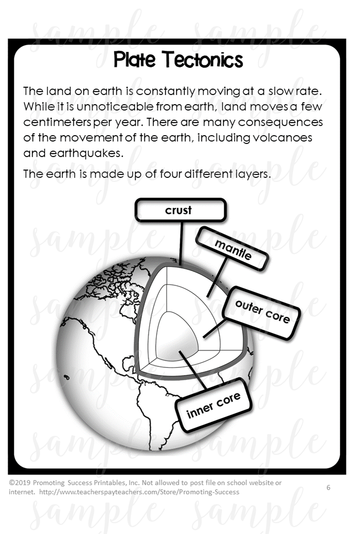 Plate Tectonics Middle School Activity Worksheets for Teaching Kids 4th -  5th Grade   Middle school activities [ 1102 x 735 Pixel ]