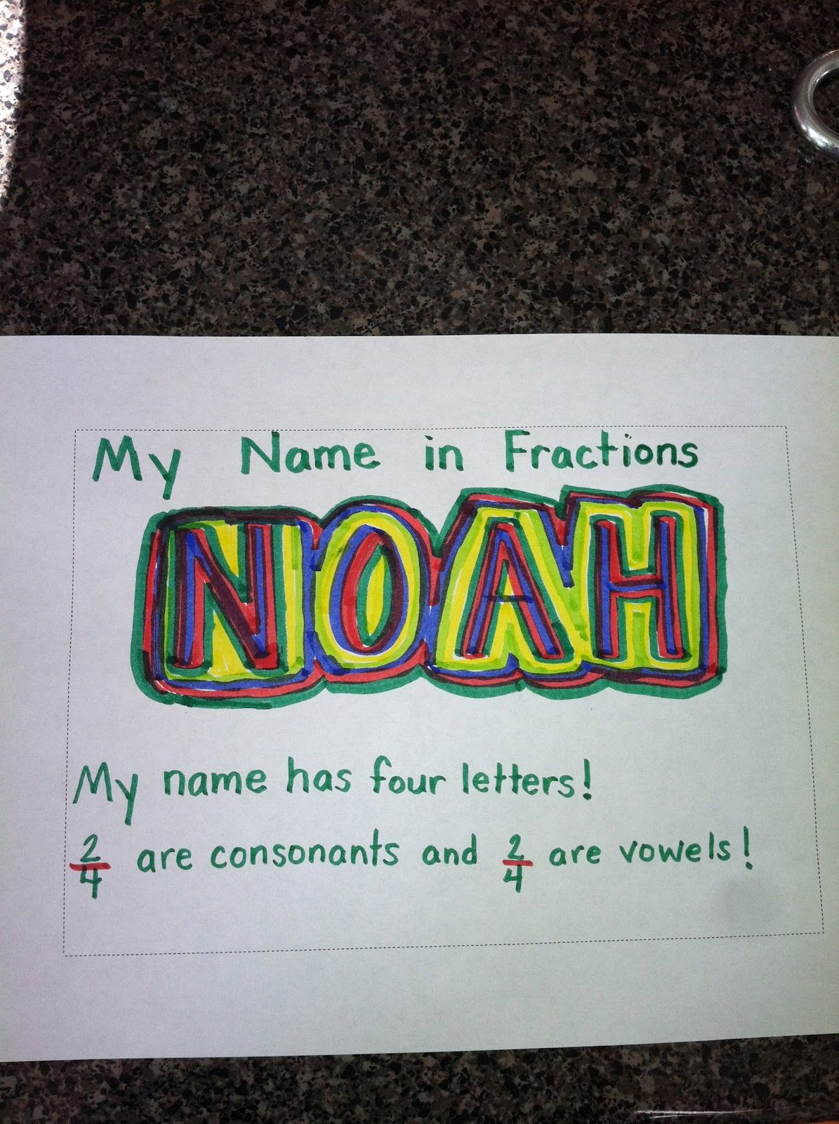 Super Sweet Second Grade Fraction Name Art
