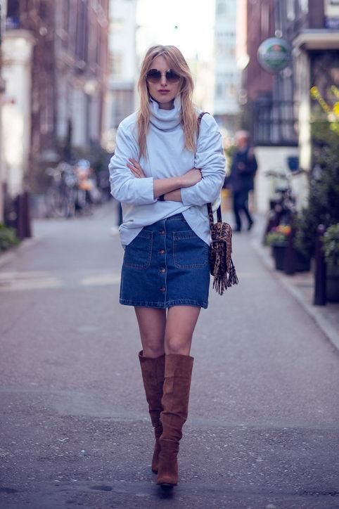 e67dfdfee1f Fresh ways to wear a denim skirt this fall - click for 50 outfit ideas we  love