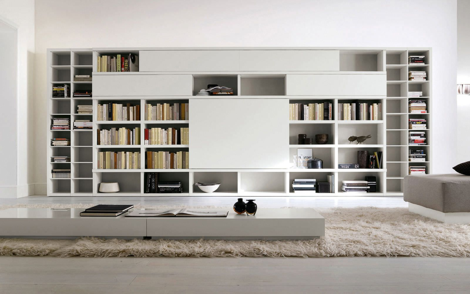 Astonishing Furniture Wonderful White Lacquered Contemporary Big Bookcase Design Cool Home Interior Book Storage Bookcases Perfect For Smart