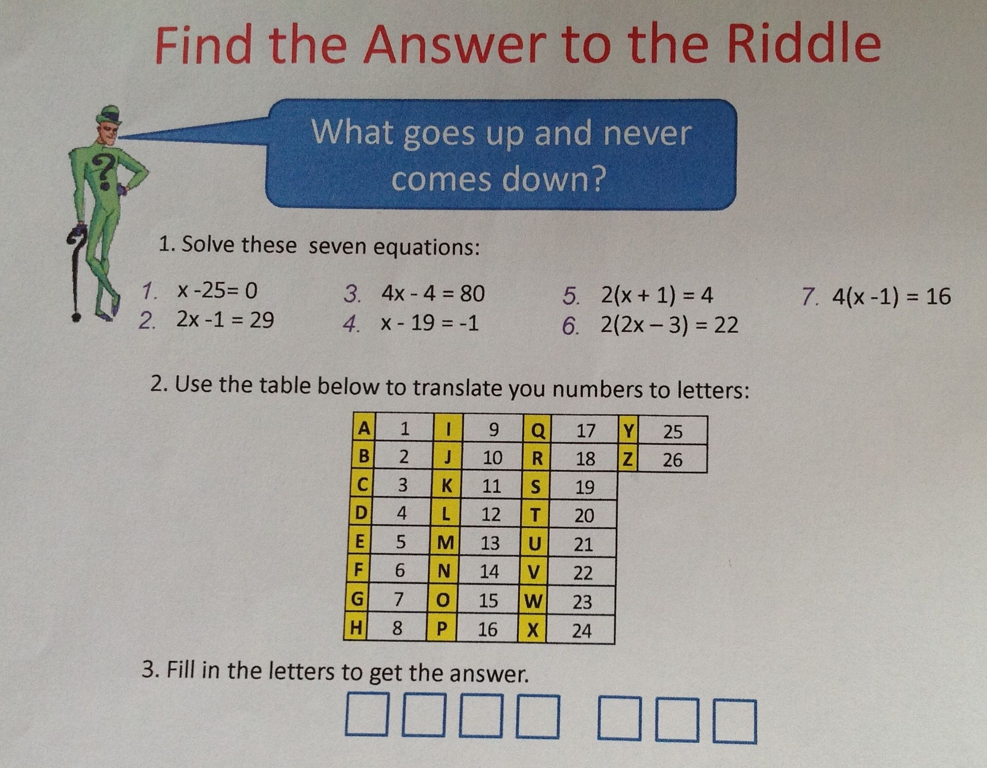 Solving equations puzzle Math games middle school