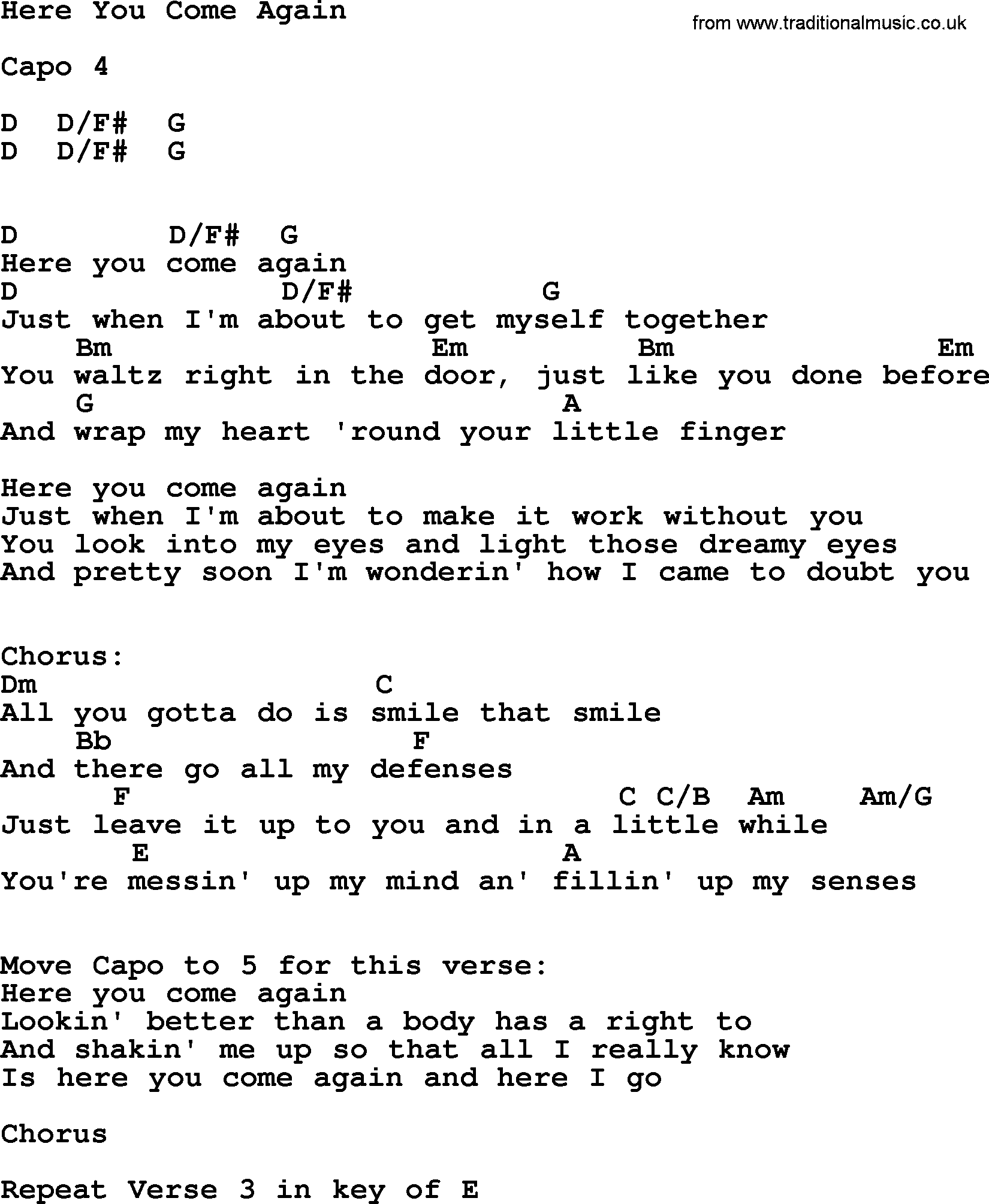 Dolly Parton song Here You Come Again, lyrics and chords