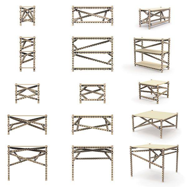 Inspirado por las estructuras moleculares, el sistema le permite crear una infinita variedad de muebles o cualquier otra estructura que le venga a la mente. LINK_17