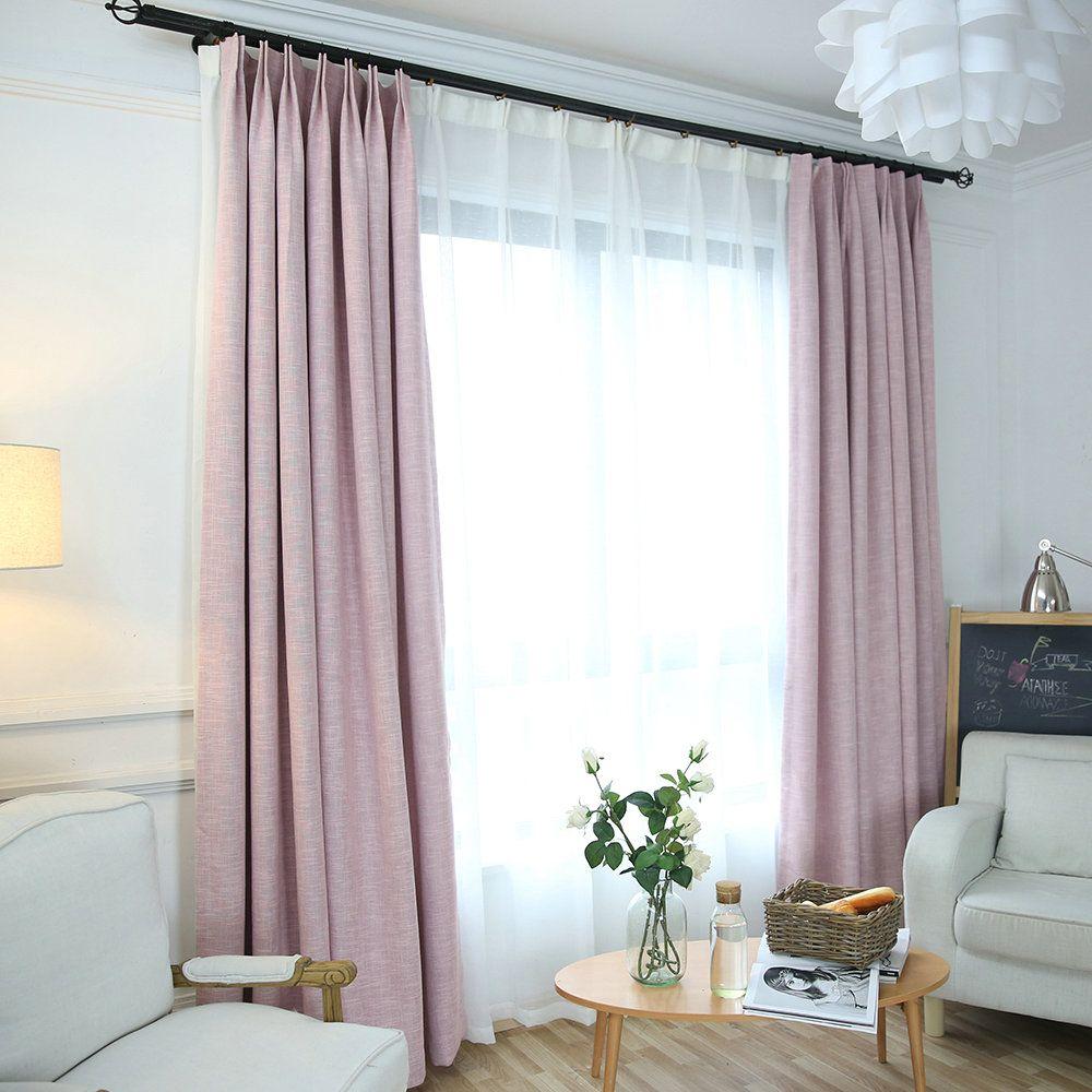 Unifarbe Vorhang Minimalismus Rosa aus Leinen und Polyester im Wohnzimmer zu gü… – Wohnzimmer