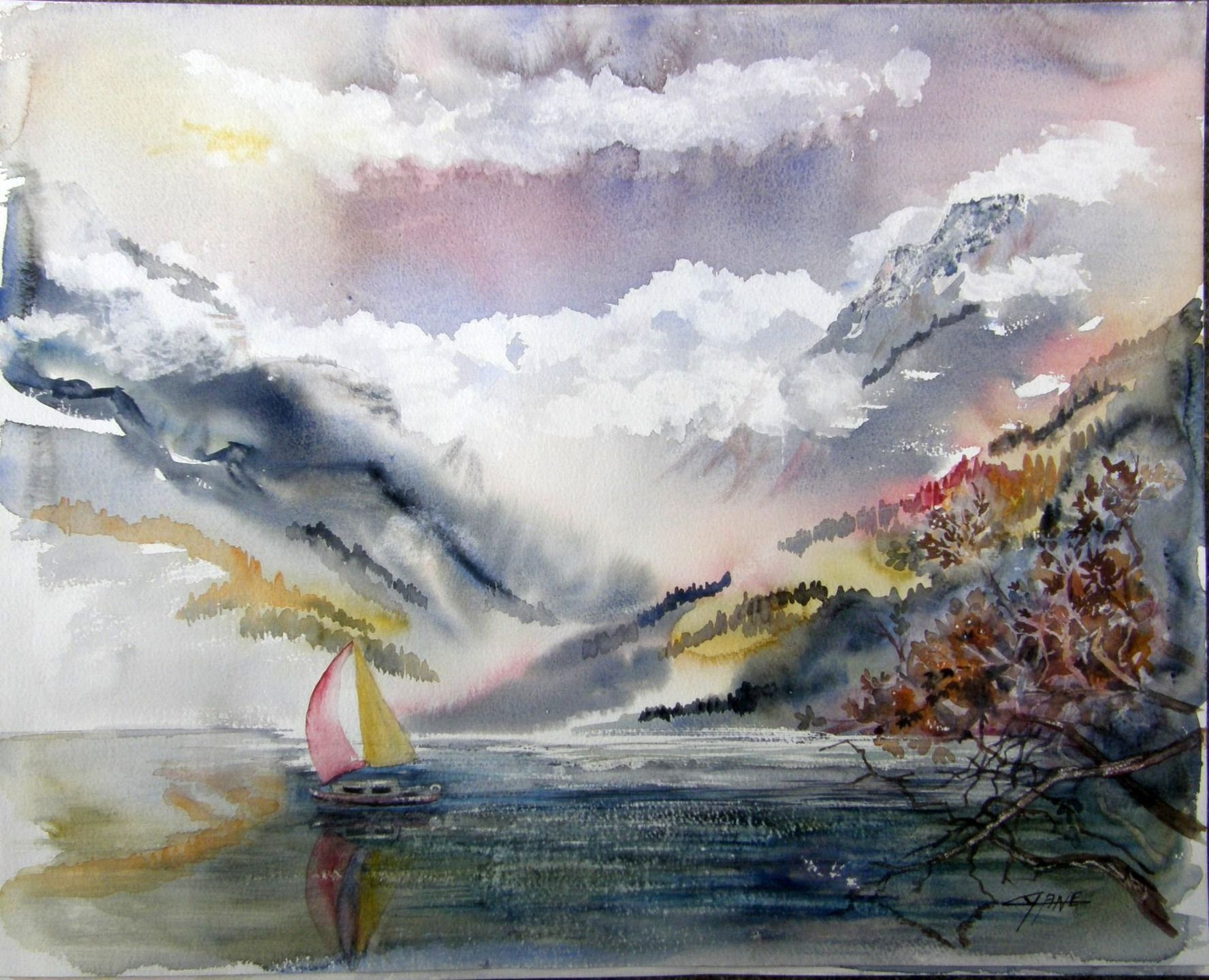 cr puscule sur le lac d 39 annecy aquarelle paysage peintures par cyane cyane art contemporain. Black Bedroom Furniture Sets. Home Design Ideas