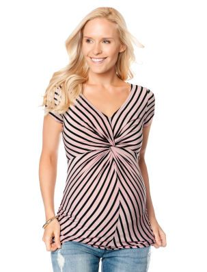 fbe769ccb0ba7 Short Sleeve V-neck Knot Front Maternity Top | Expecting | Pinterest ...