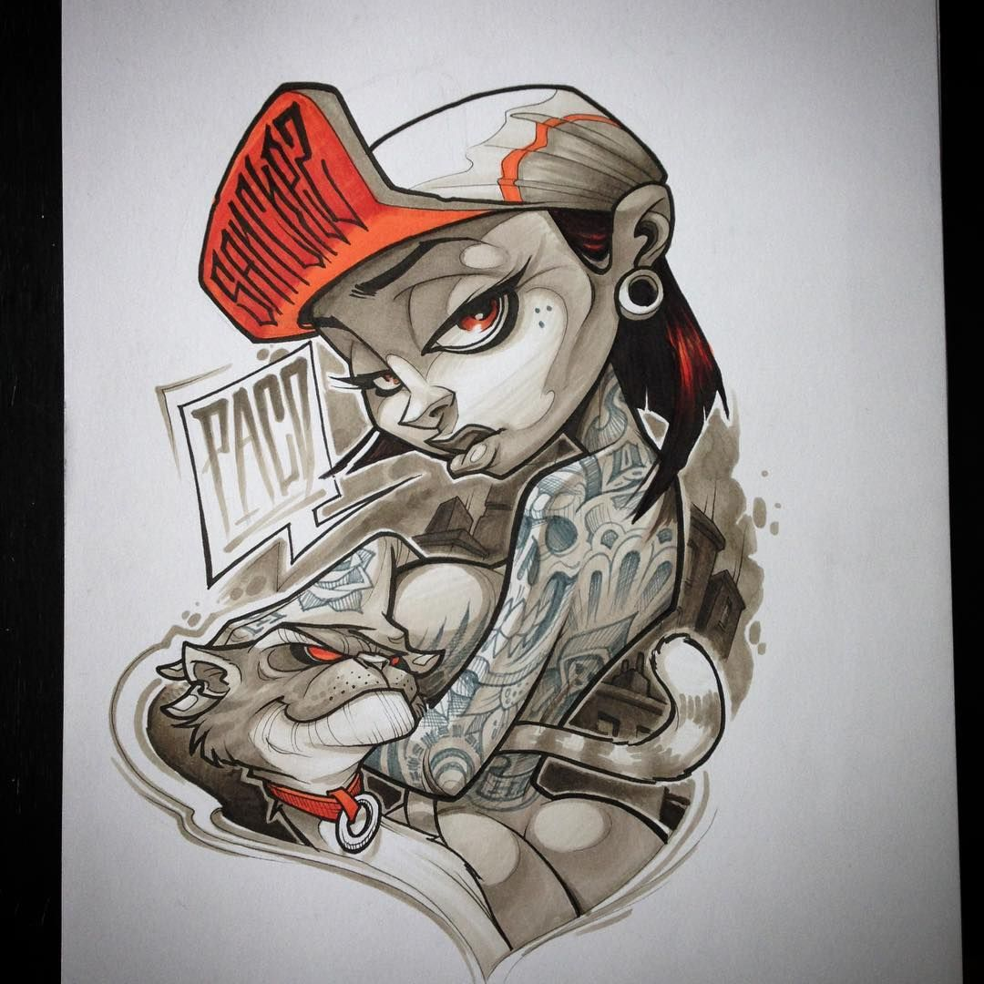 #paco #lossanchez #anusone #tattoo #graffiti #sketch #copicmarkers #character #chick #hamburg #