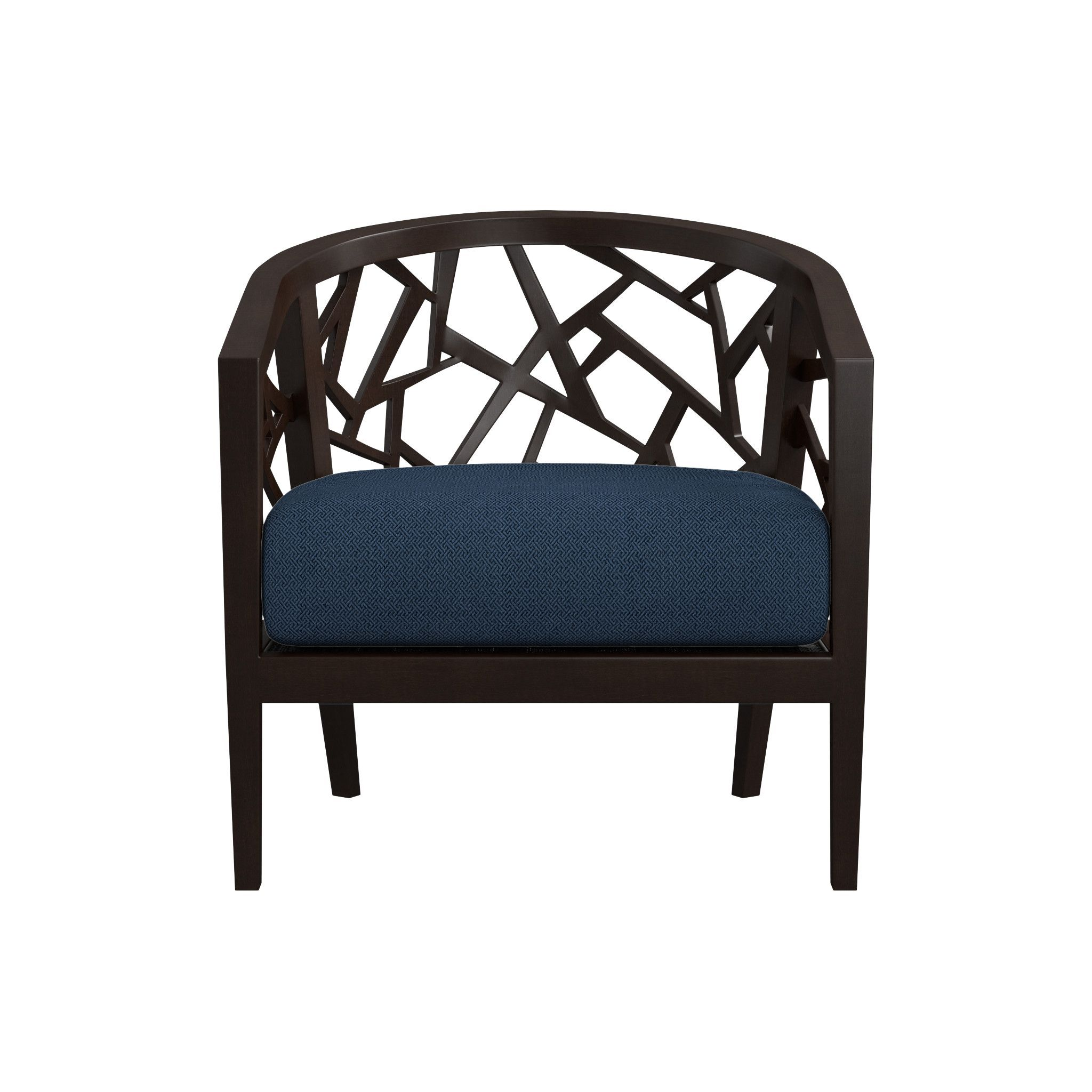 Ankara truffle frame chair with fabric cushion crate and