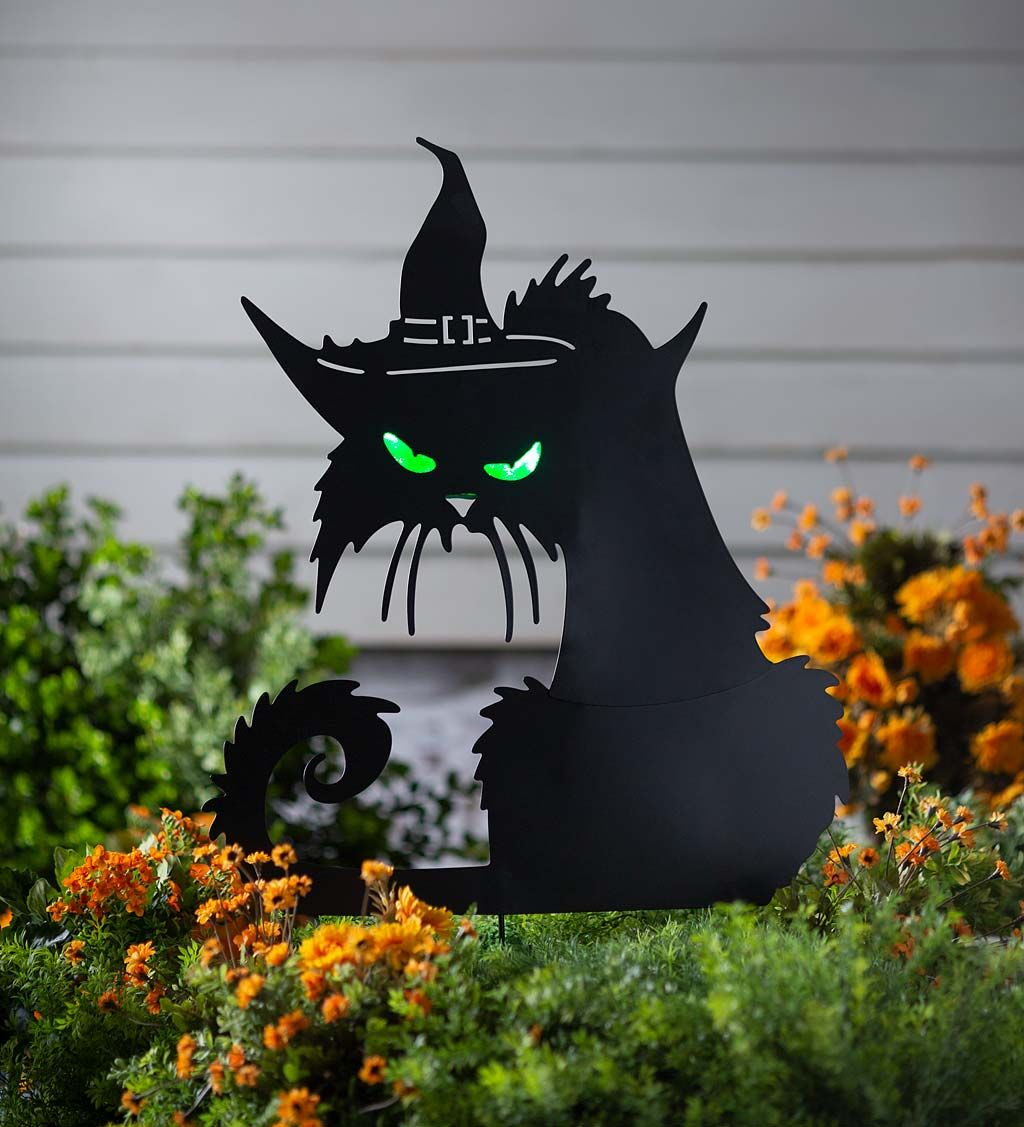 Metal Halloween Cat Silhouette Stake With Lighted Eyes in