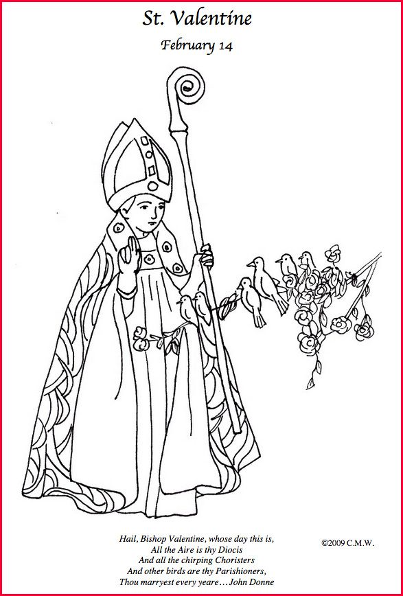 St Valentine Coloring Page Valentine Coloring Catholic Coloring