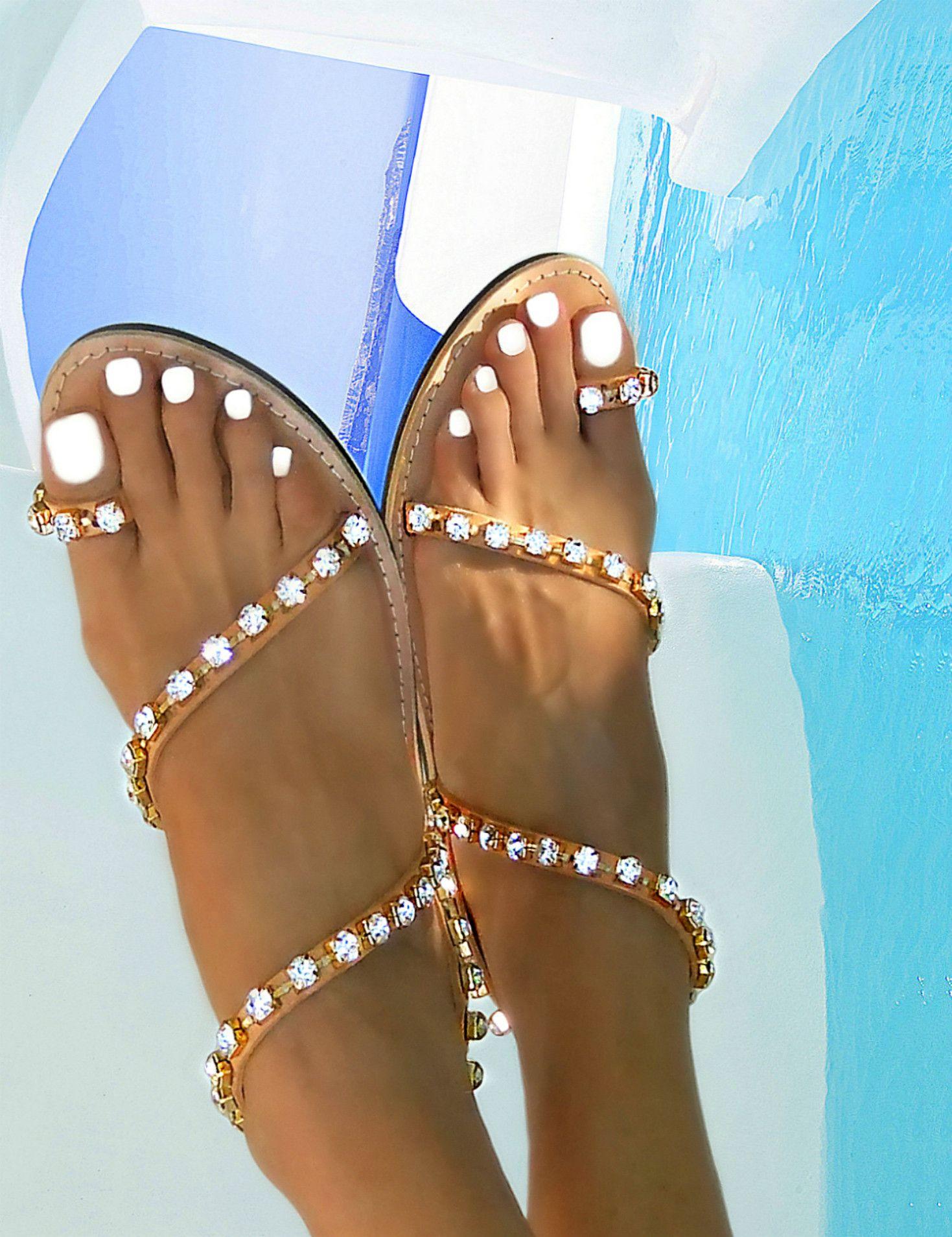 826a28b759ef9 innovative greek sandals - Andromeda Swarovski Transparent - flat ...