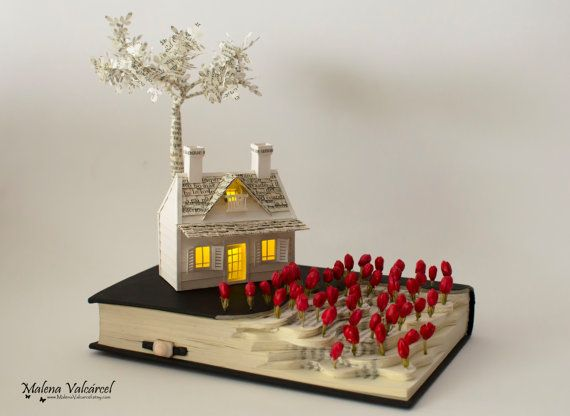 A field of poppies book sculpture book art altered - Fonctionne avec des piles 94 ...
