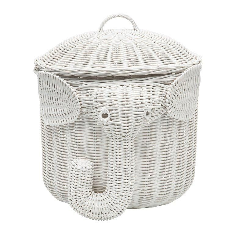 Elephant Wicker Laundry Basket Nursery Toys Home White White