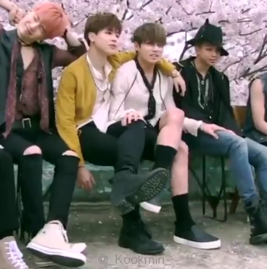 i just love this photo!!! arm around jungkook, matching sitting pose and his hand on jimin's knee (I know he's touching Rm too) he looks so small and they are like a couple in a park ahah  [1,000+ Jikook Photos Here: https://uk.pinterest.com/SeoulSisterSopi/jikook-~-kookmin-~-jiguk-~-busan-boys/]